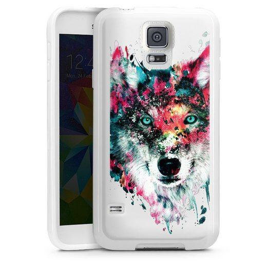 DeinDesign Handyhülle »Wolve ohne Hintergrund« Samsung Galaxy S5, Hülle Riza Peker Wolf bunt