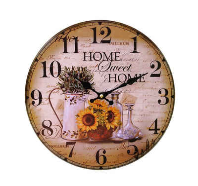 LB H&F Lilienburg Wanduhr »LB H&F Lilienburg Wanduhr ohne tickgeräuche Vintage Küchenuhr lautlos Uhr grün braun gelb Home Sweet« (lautlos, ohne tickgeräusche, landhaus, vintage, Küche, Wohnzimmer, geräuschlos, Quarzuhr, Holzuhr)