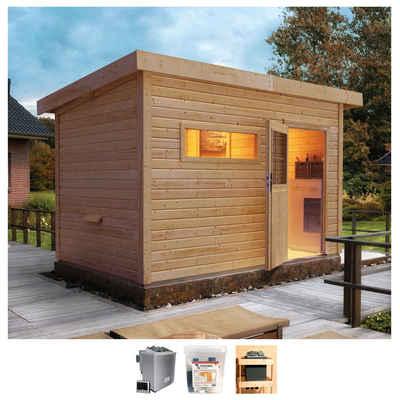 Karibu Saunahaus »Uwe 2«, BxTxH: 337 x 231 x 239 cm, 38 mm, 9-kW-Bio-Ofen mit ext. Steuerung