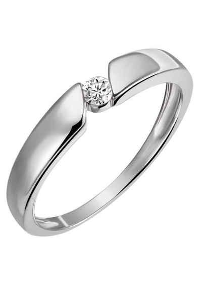Firetti Diamantring »Solitär, Spannfassung, ca. 3,2 mm breit, Glanz, rhodiniert, massiv«, mit Brillant
