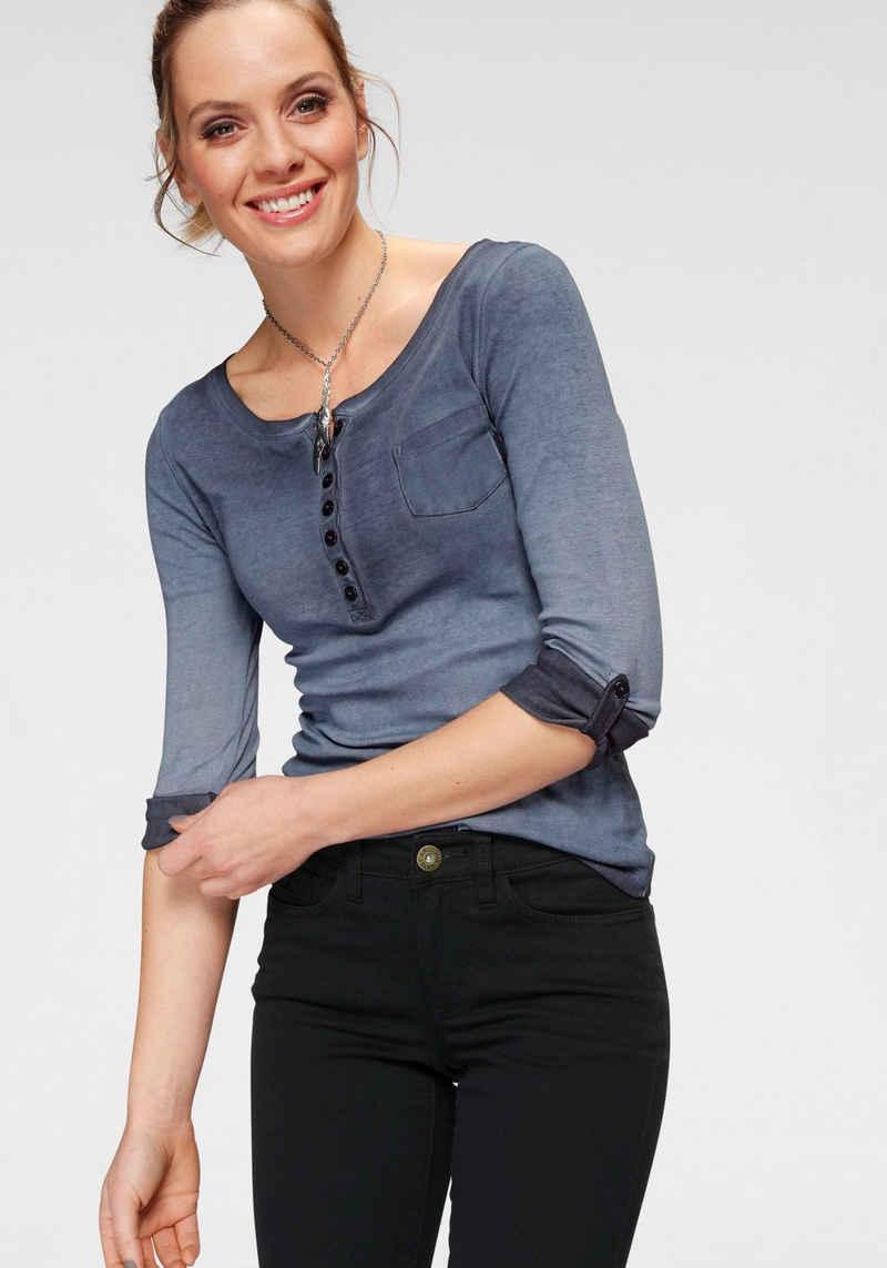 Arizona Langarmshirt »Krempelärmel mit Riegel« mit Knopfleiste und Ärmelriegel