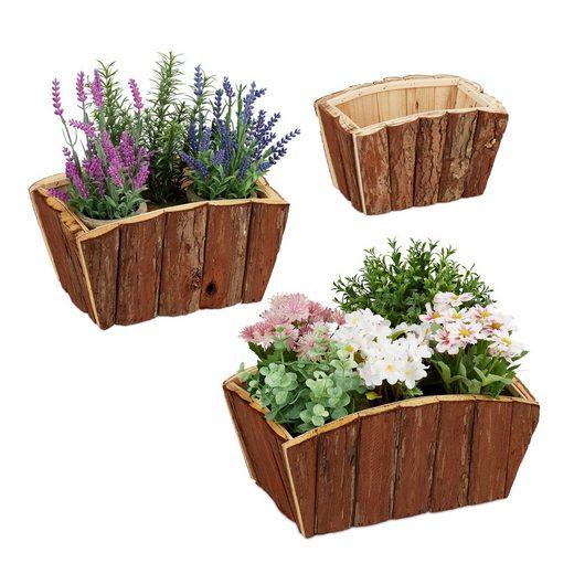 relaxdays Blumenkasten »Blumenkasten Holz im 3er Set«