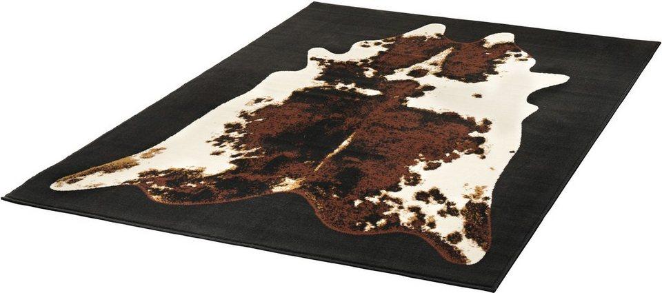 Design-Teppich, Hanse Home, » Kuhfell-Teppich Moss«, gewebt in schwarz braun creme