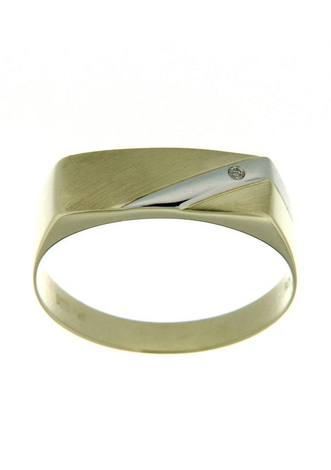 Firetti Siegelring »matt, glanz in Bicolor-Optik« mit Brillant   Schmuck > Ringe > Siegelringe   Goldfarben   Firetti