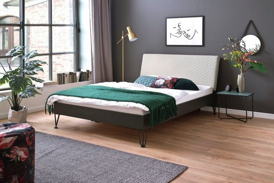 meise.möbel Metallbett »Boston«, Polsterkopfteil mit Rautenstanzung, diverse Fußvarianten möglich