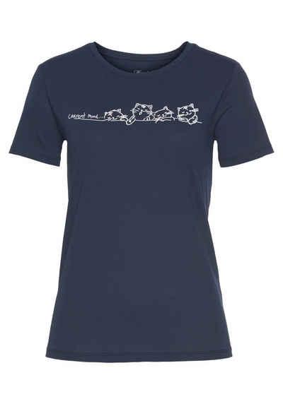 Mavi T-Shirt »CURRENT MOOD PRINTED TEE« mit Katzen Druck vorne