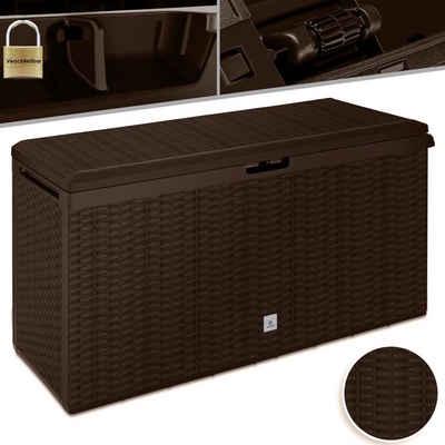 KESSER Aufbewahrungsbox, Auflagenbox Kissenbox 290 Liter mit Rollen klappbarer Deckel Haltegriffe Rattanoptik Gartenbox