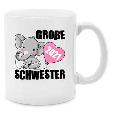 Shirtracer Tasse »Große Schwester 2021 mit Elefant - schwarz - Tasse Geschwister - Tasse zweifarbig«, Keramik