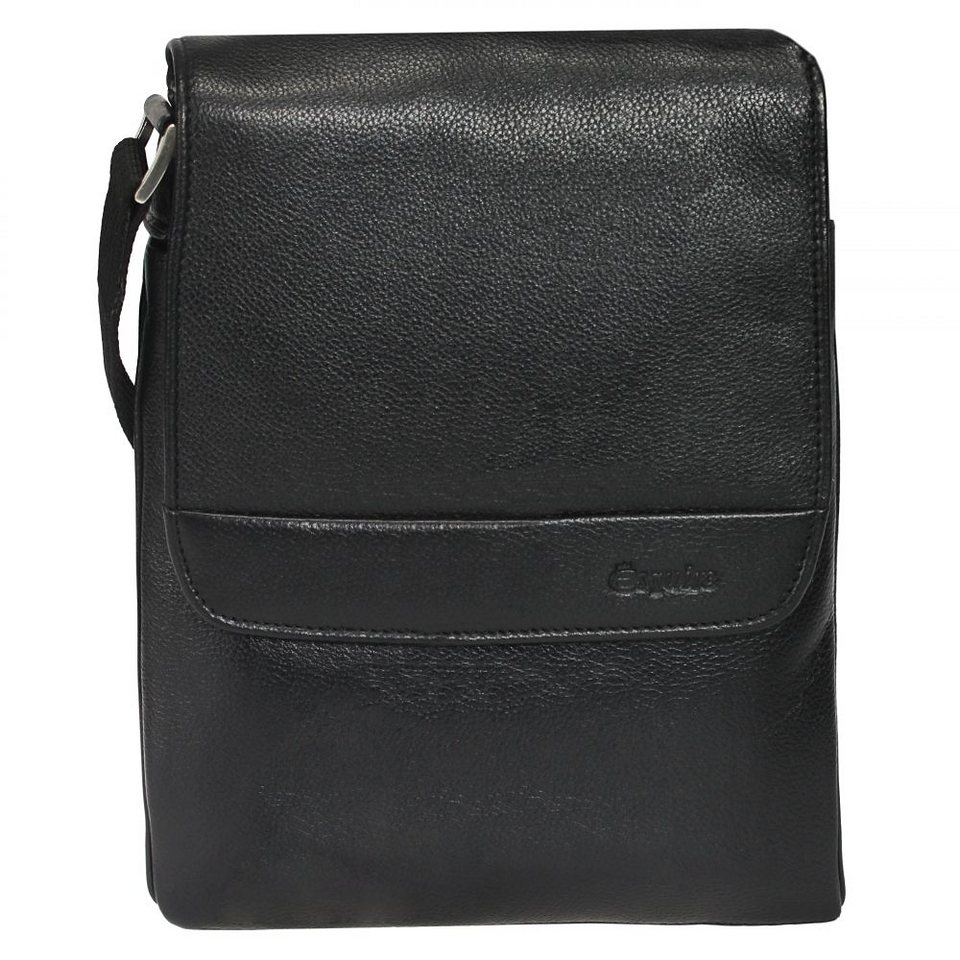 Esquire Courier Umhängetasche Leder 29 cm in black