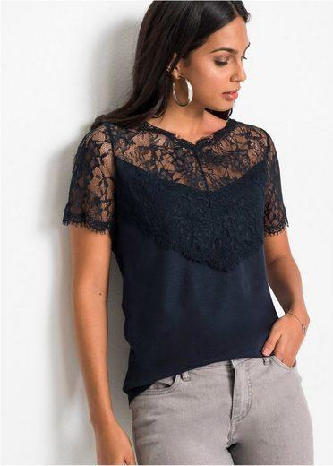 bonprix T-Shirt »Elegantes Shirt mit transparentem Einsatz an der Schulterpartie«