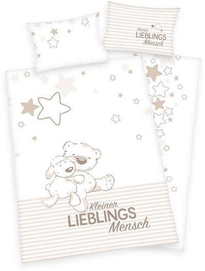 Babybettwäsche »Kleiner Lieblingsmensch«, Baby Best, mit niedlichem Teddy-Motiv und Schriftzug
