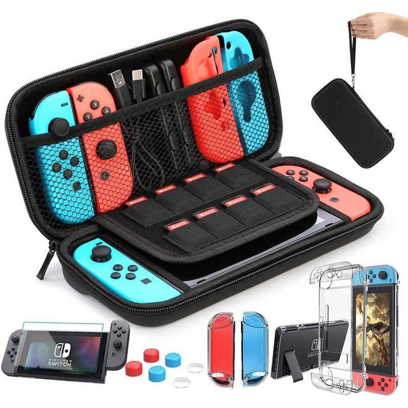 IVSO »Goods Zubehör für Nintendo Switch (Tasche, Schutzglas, Hülle Transparent, Daumen Kappen, Control-Aufsätze)« Nintendo-Controller