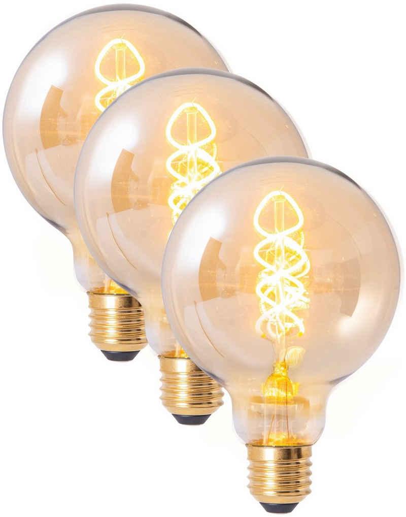näve »Filament« LED-Leuchtmittel, E27, 3 Stück, Warmweiß, dimmbar, Set - 3 Stück, amberfarben, Globe Ø9,5cm