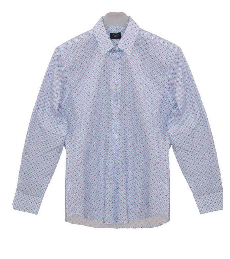 PAUL & SHARK Langarmhemd »PAUL & SHARK Langarm-Hemd auffälliges Herren Sommer-Hemd Freizeit-Hemd mit Allovermuster Blau«