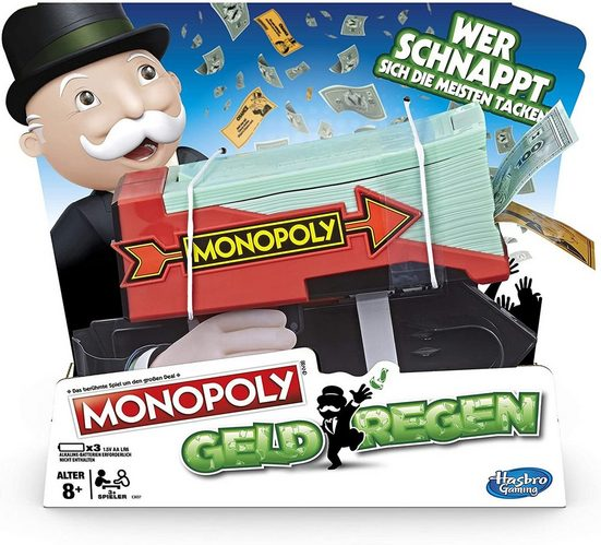 Hasbro Spiel, Brettspiel »Monopoly Spielgeld Kanone Geldregen«, Wirbelt Geld und Ereigniskarten in die Luft!