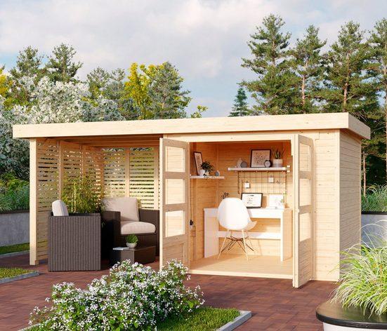 KARIBU Set: Gartenhaus »Arnis 3«, BxT: 491x238 cm, mit Anbau inkl. Seiten- und Rückwand