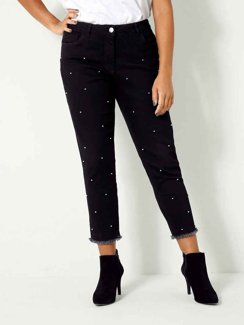 Angel of Style Slim-fit-Jeans mit Dekoperlen