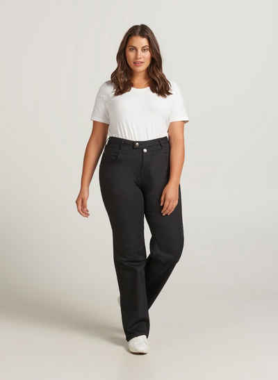 Zizzi Regular-fit-Jeans Große Größen Damen Baumwoll-Jeans mit Stretch und hoher Taille