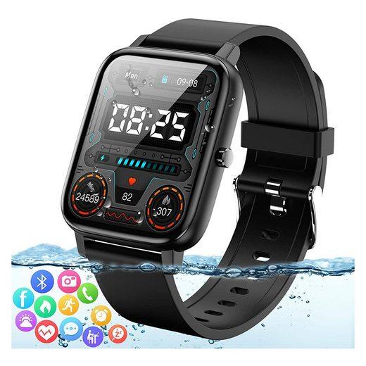 kueatily Smartwatch für Herren Damen Extrem GroßTouchscreen Fitnessuhr Wasserdicht mit Pulsmesser Schrittzähler Schlafmonitor Blutdruckmessgerät Blutsauerstoff Sportuhr für Smartwatch