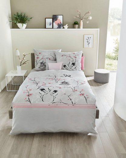 Bettwäsche »Cherry Blossom«, Kaeppel, mit Kranichen