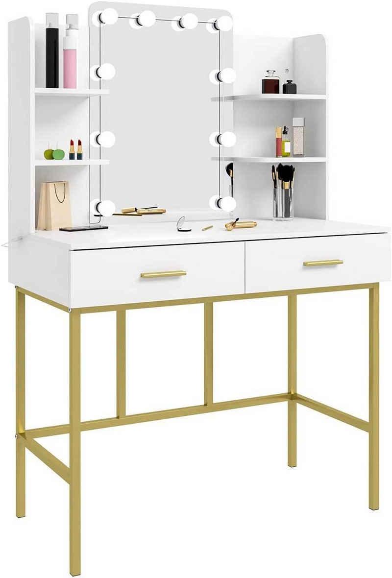 Woltu Schminktisch »MB6077ws-MA«, mit Spiegel mit LED-Beleuchtung Frisiertisch mit 2 Schubladen Modern Kosmetiktisch für Schlafzimmer Melaminplatte und Metall Weiß und Gold 45x136x90cm
