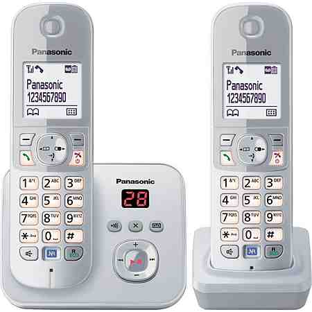 Panasonic KX-TG6822G DUO Schnurloses DECT Telefon-Set mit AB