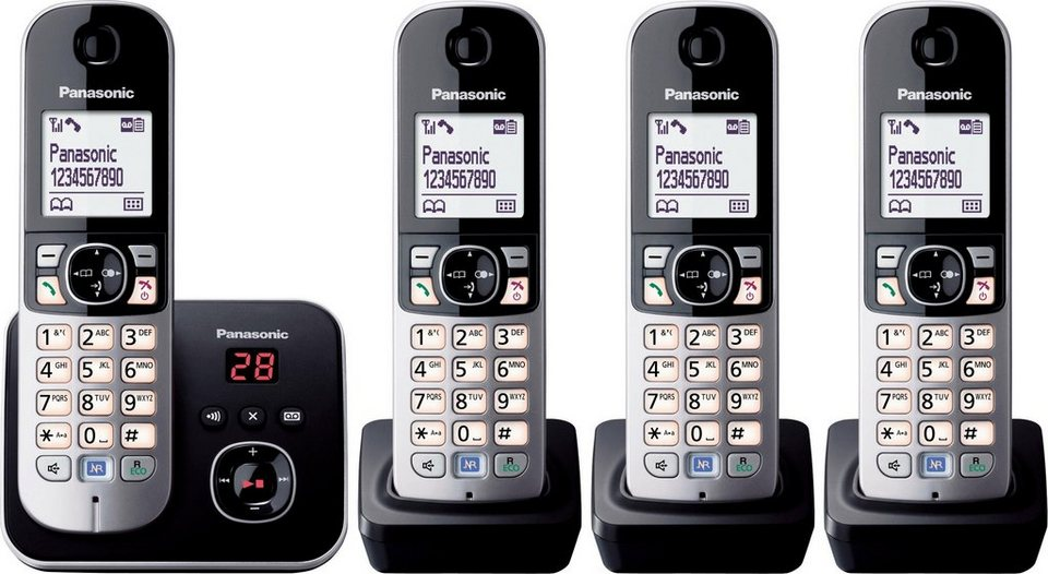 Panasonic KX-TG6824GB QUATRO Schnurloses DECT Telefon-Set mit AB in schwarz