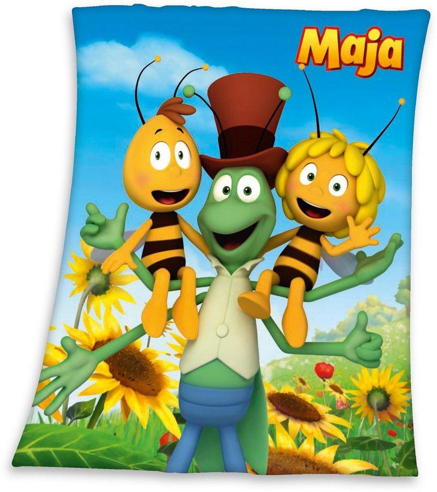 Fleecedecke, Biene Maja, mit tollem Bienenmotiv in bunt