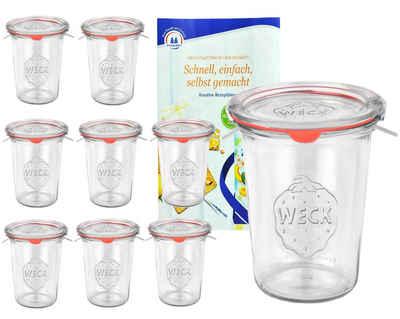 MamboCat Vorratsglas »9er Set Weck Gläser 850ml, 3/4L Sturzgläser mit 9 Glasdeckeln, 9 Einkochringen und 18 Klammern inkl. Gelierzauber Rezeptheft von Diamantzucker«