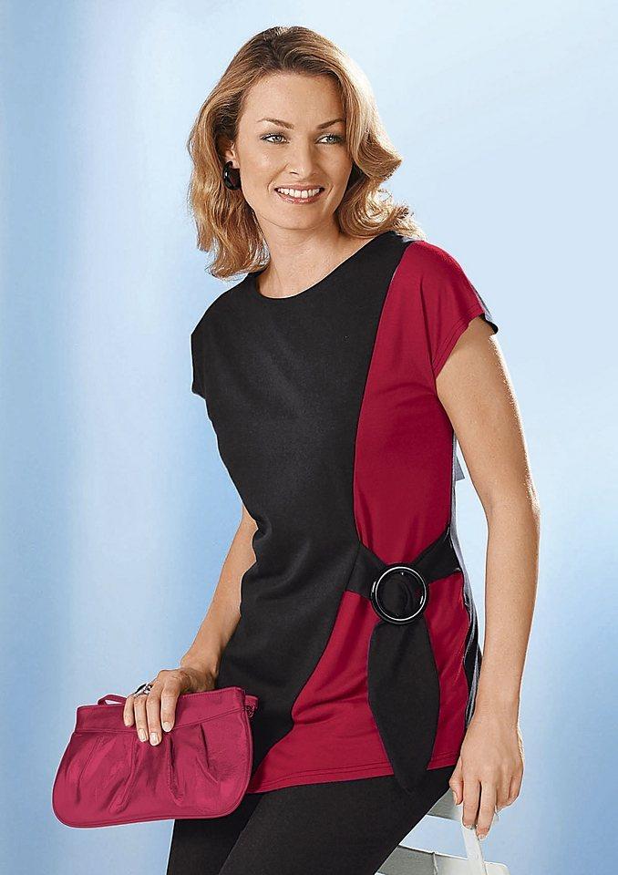 Classic Basics Shirt mit überschnittenen Schultern in schwarz-rot