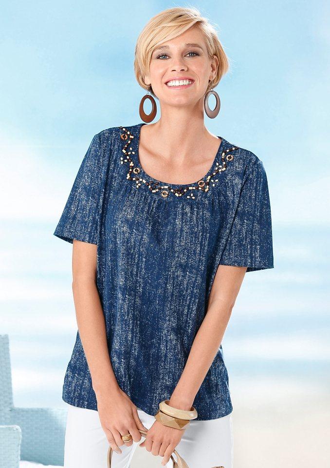 Classic Basics Shirt mit dekorativen Holzperlen in blau