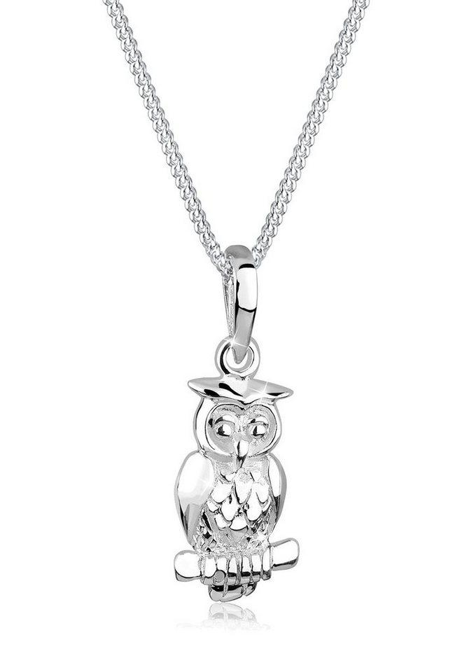Elli Halskette »Eule Tier Motiv 925 Silber« in Silber