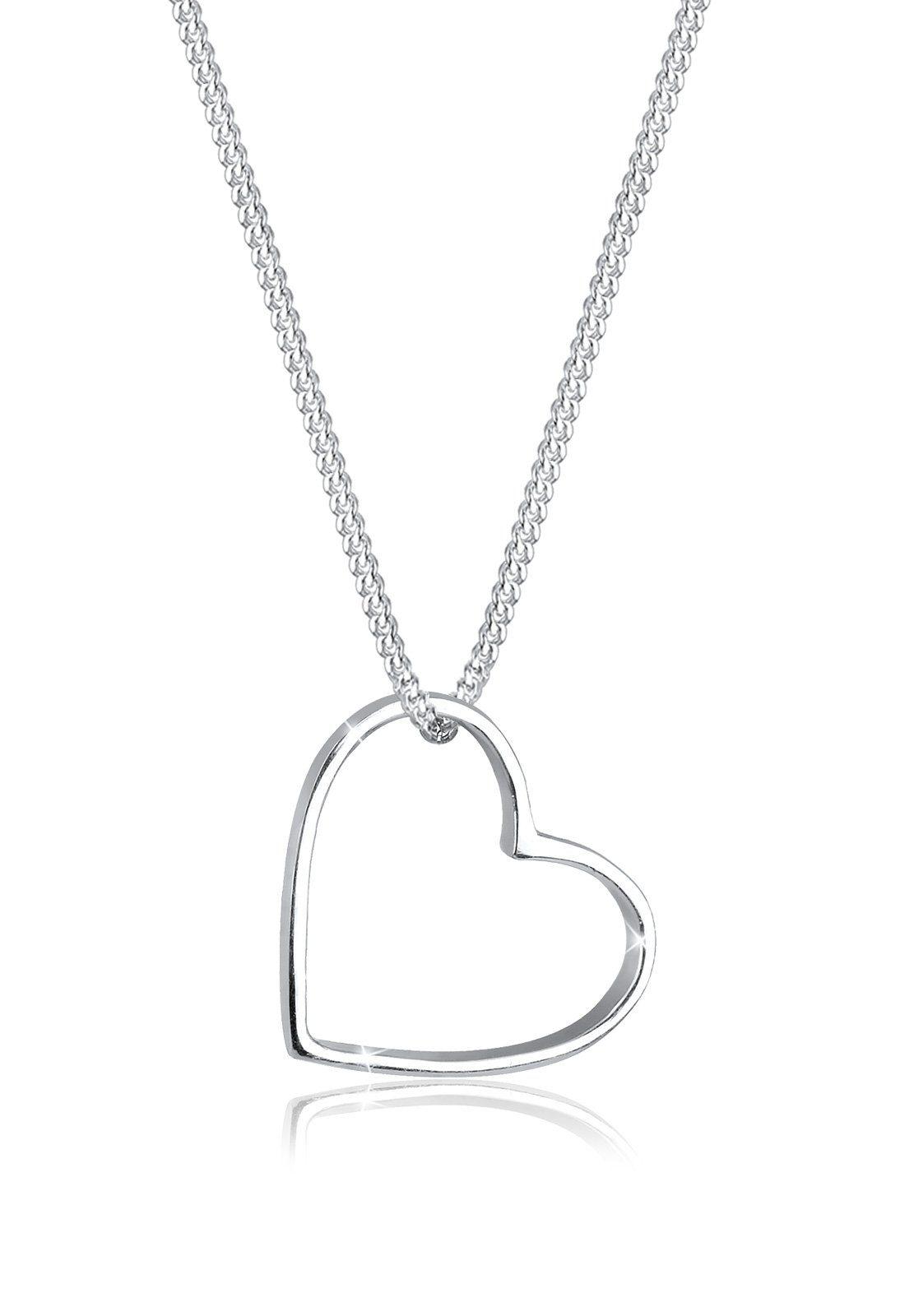 Elli Halskette »Herz Anhänger Liebe Cut Out 925 Silber«