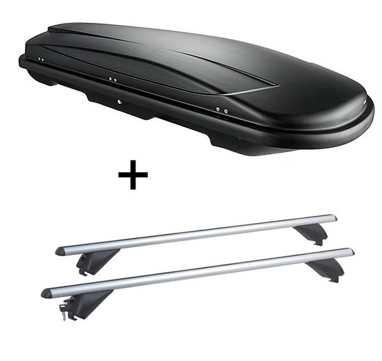 VDP Fahrradträger, Dachbox VDPJUXT600 600Ltr abschließbar + Alu Dachträger RB003 kompatibel mit Kia Sportage (5Türer) ab 2016