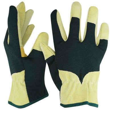 Navaris Lederhandschuhe 1 Paar XL Gartenhandschuhe aus Spaltleder - für Damen und Herren - Leder Arbeitshandschuhe Handschuhe für leichte Gartenarbeit