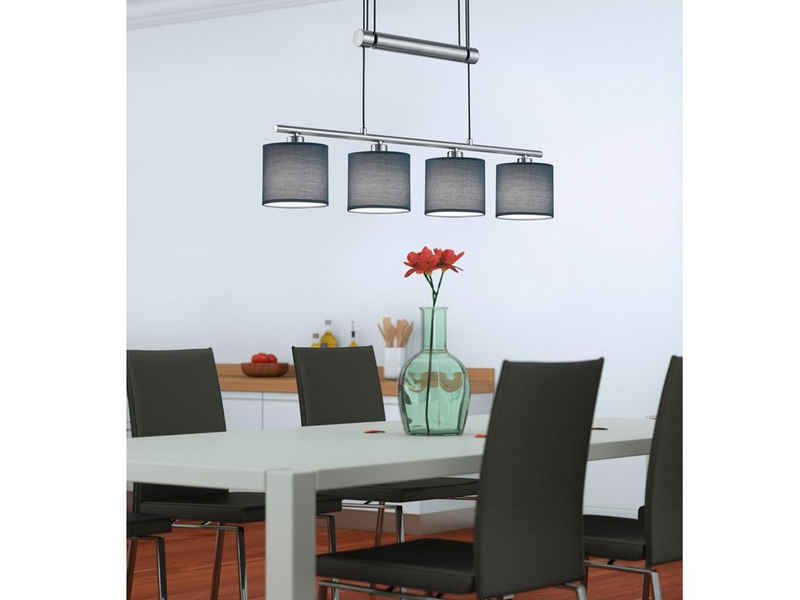 meineWunschleuchte LED Pendelleuchte, dimmbar stufenlos höhenverstellbar, JoJo, Designer Lampen-Schirme Stoff Grau, 4 flammig, Wohnzimmer Esszimmer Lampen hängend