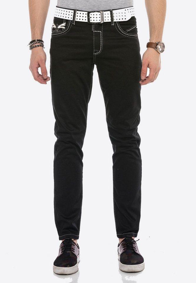 cipo & baxx -  Bequeme Jeans mit cooler Stickerei