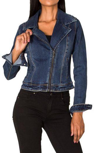 Nina Carter Jeansjacke »3258« Damen Denim Jeansjacke Stretch Biker Blazer Jacke