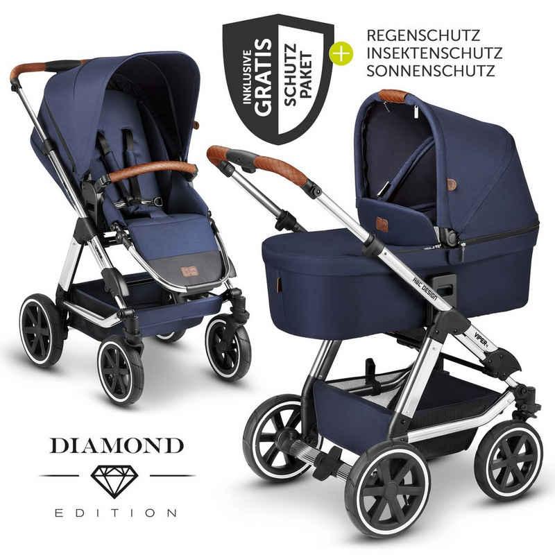 ABC Design Kombi-Kinderwagen »Viper 4 - Diamond Edition - Navy«, (7-tlg), 2in1 Kinderwagen-Set mit Lufträdern - inkl. Babywanne, Sportsitz & XXL Zubehörpaket