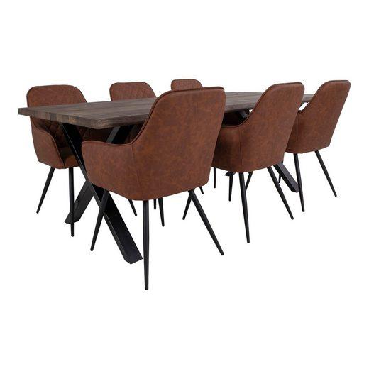 ebuy24 Essgruppe »Tony Essgruppe, 1 Esstisch und 6 Stühlen, braun u«