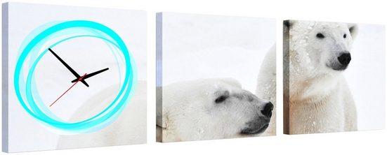 Komplett-Set: Leinwand »White Bears«, mit dekorativer Uhr