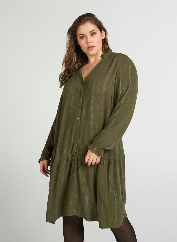 Festtagsmode - Zizzi Abendkleid Große Größen Damen Kleid mit langen Ärmeln und V Ausschnitt ›  - Onlineshop OTTO