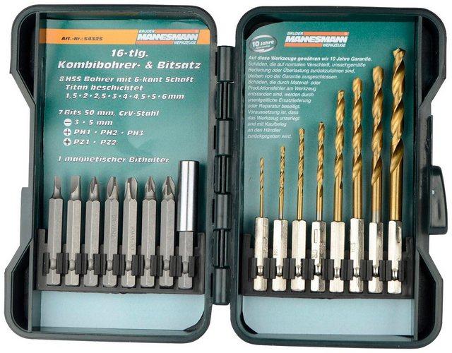 BRUEDER MANNESMANN WERKZEUGE Bohrer- und Bit-Set , 16-tlg. | Baumarkt > Werkzeug > Werkzeug-Sets | Schwarz | Brüder Mannesmann Werkzeuge