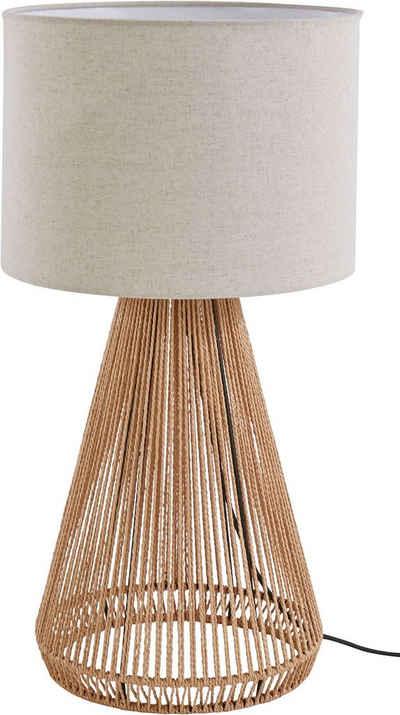 LeGer Home by Lena Gercke Tischleuchte »Zuri«, Tischlampe, Ø 30 cm, Höhe 60 cm, Fuß Drahtgestell mit Sisalschnurr, Leinenschirm / Stoff - beige