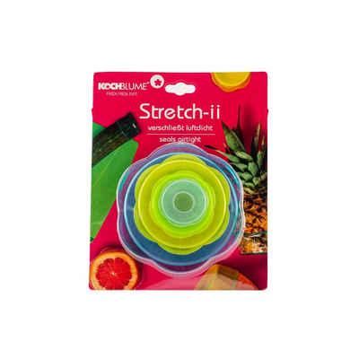 Kochblume Frischhaltedeckel »Stretch-ii«, (Set, 4-tlg., Farb-Mix), verschließt luftdicht