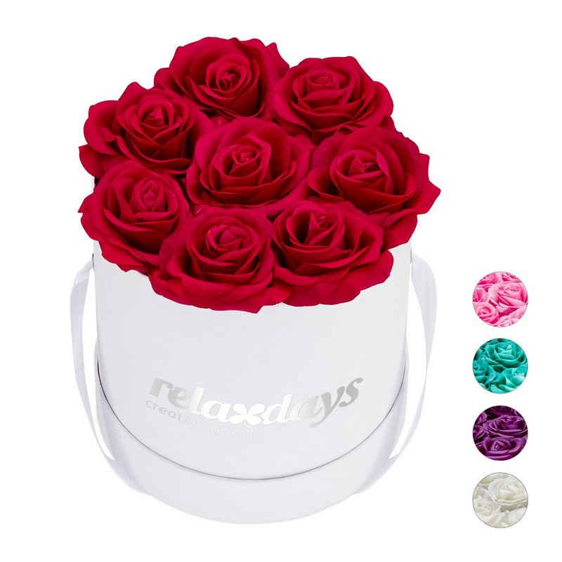 relaxdays Papierblumen »Weiße Rosenbox rund mit 8 Rosen«