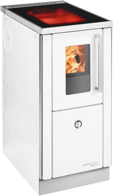 Haas & Sohn Festbrennstoffherd HSD 40.5 6 kW, mit Ceranfeld, weiß