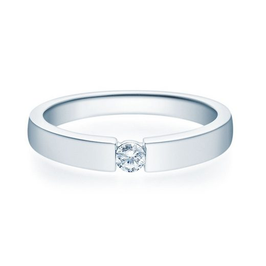 Stella-Jewellery Verlobungsring »375er Weißgold Verlobungsring mit Brillant - Gr.54«, mit Brillant 0,10ct. - Poliert