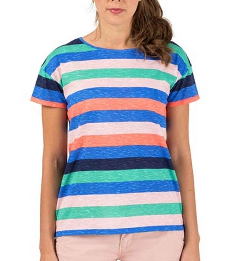 TIMEZONE T-Shirt »TIMEZONE Striped T-Shirt gestreiftes Damen Sommer-Shirt mit Logo-Print Baumwoll-Shirt Bunt«