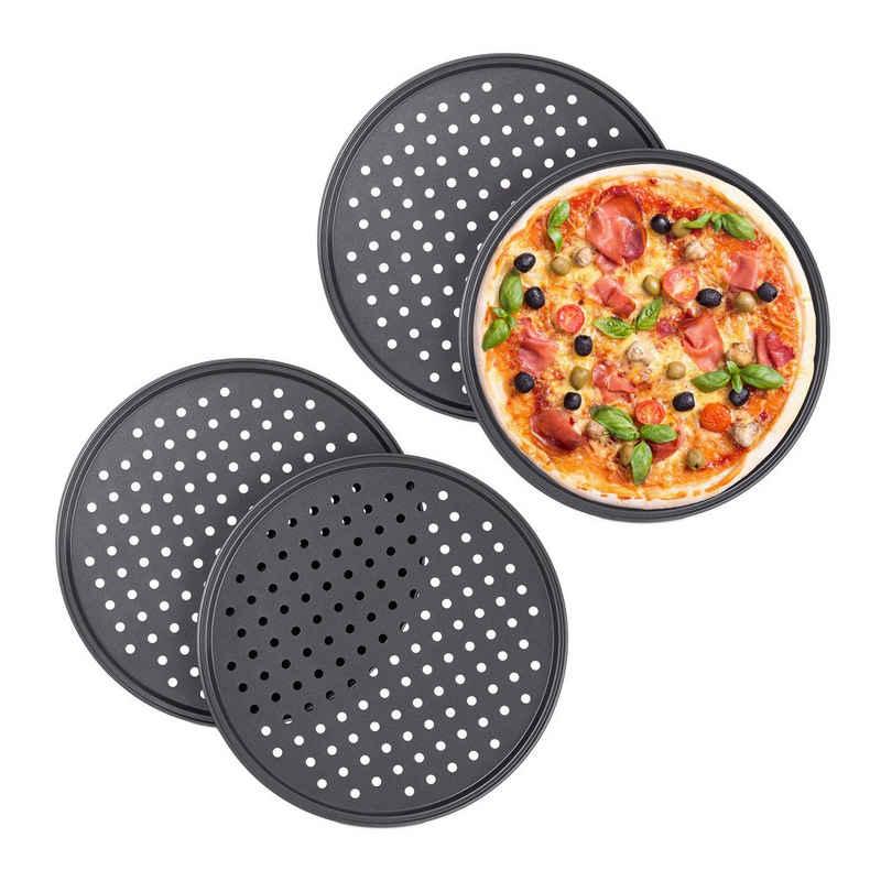relaxdays Pizzablech »4 x Pizzablech rund«, Stahl